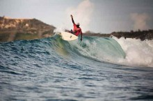 Surfing in Lombok at Gerupuk bay